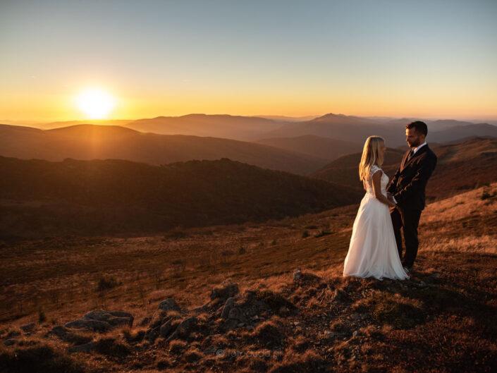 Plener ślubny – Piękny zachód słońca – Bieszczady Bukowe Berdo